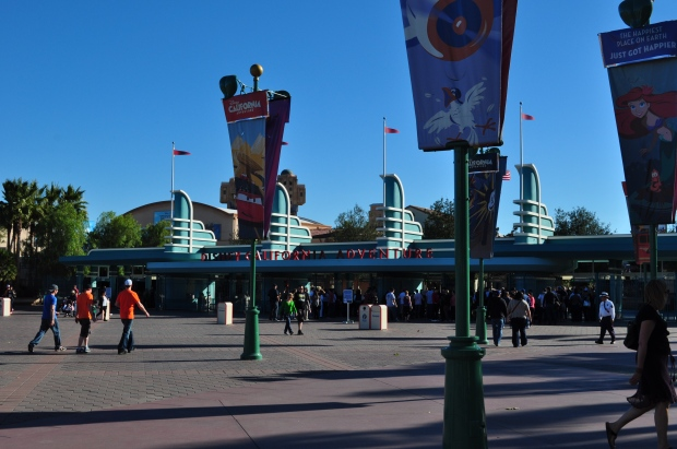 Looking across at the entrance to Disney California Adventure