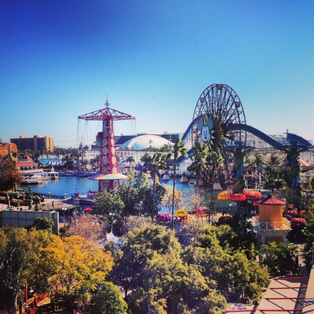 The view of Paradise Pier from our balcony.  Amazing.