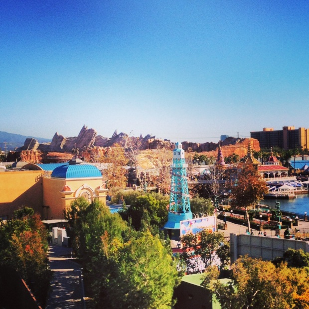 and looking in the other direction, my first sight of Cars Land - the beautiful Cadillac Mountian Range
