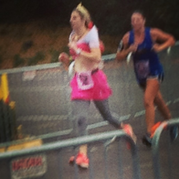 Blurry action shot of the finish line approach.