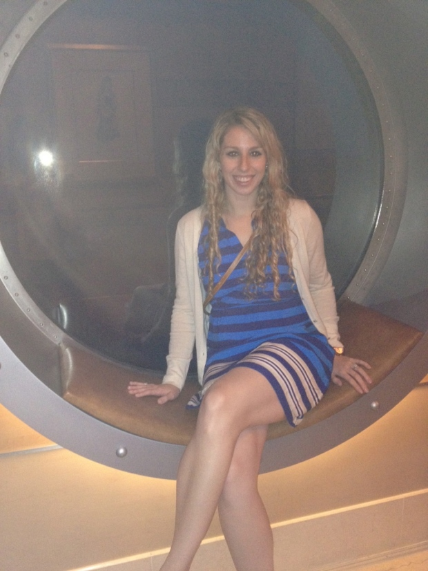 A quick photo in the beautiful big portholes before dinner.