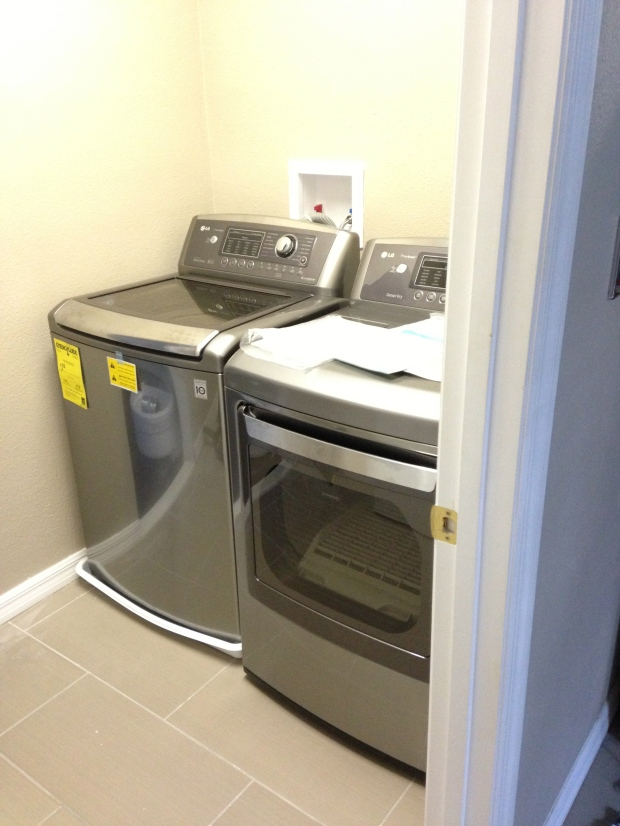 the washer and dryer mid-installation