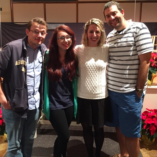Hanging with our friends Dave and Sarah before my choir's Holiday Concert!